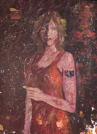 Kim Noble painting by Judy. Girl with the Brexit Tattoo